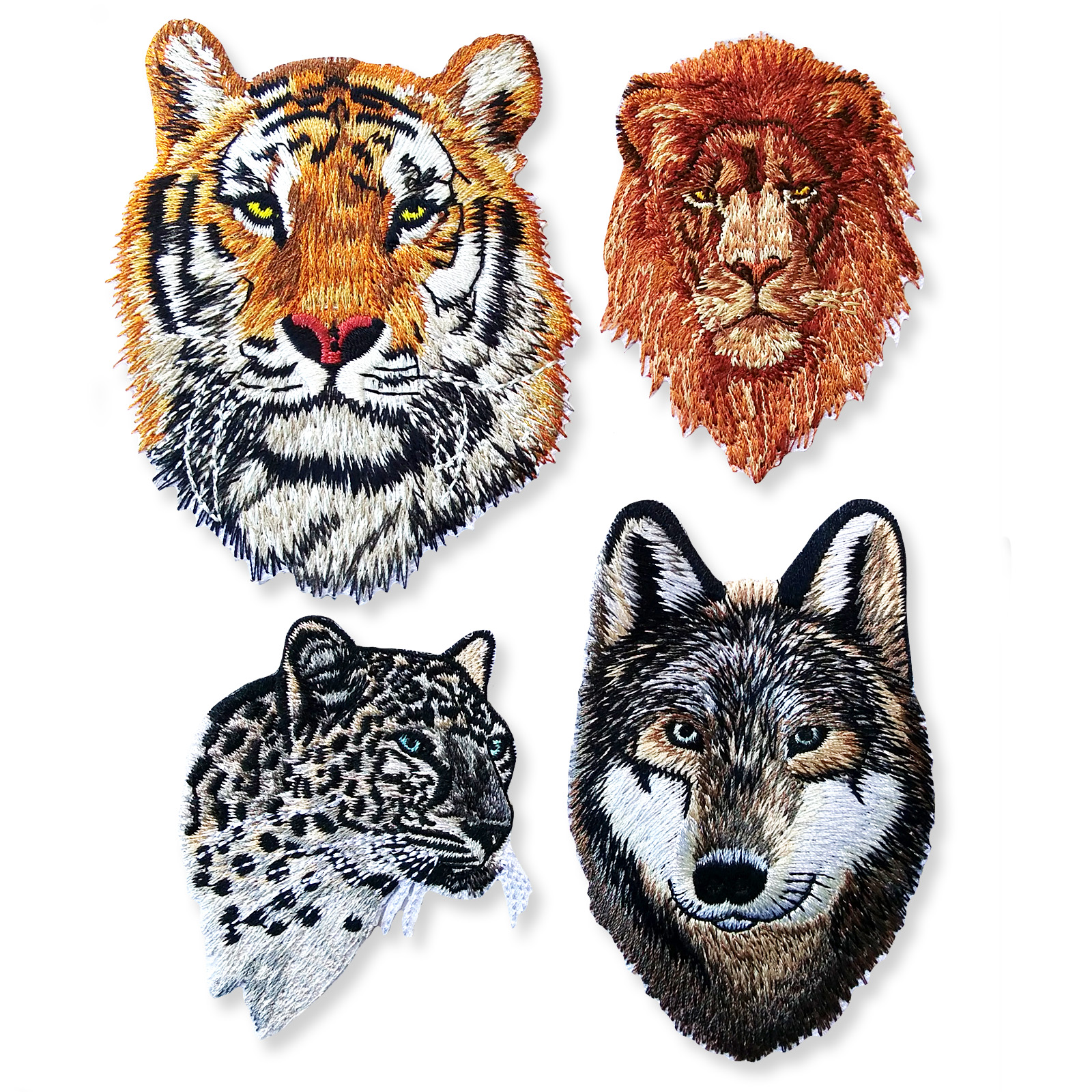 Lion Leopard Tiger Wolf Iron Sew on Appliques Embroidered Pocket Patches Craft
