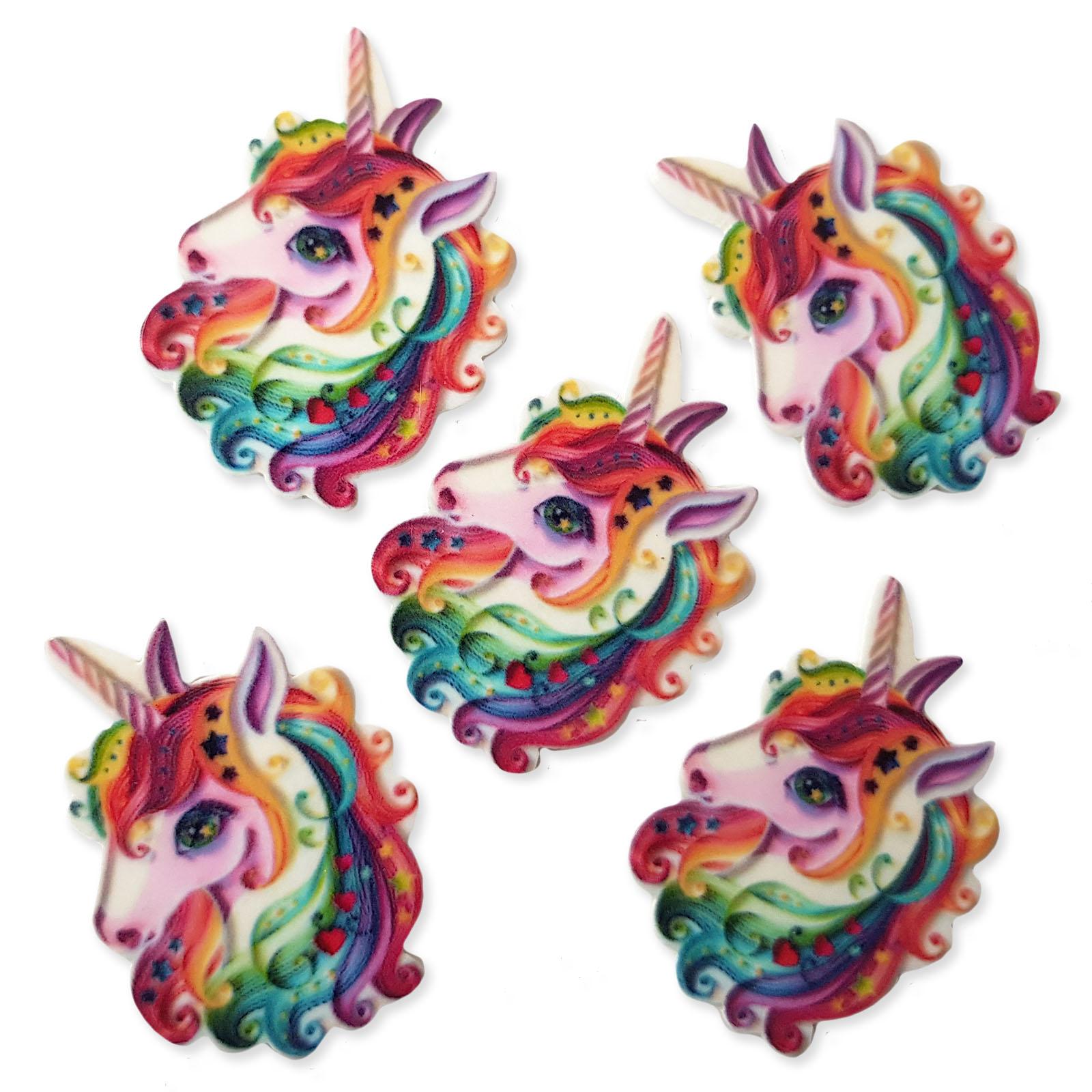 5pcs Tattoo Style Unicorn Flatback Acrylic Cabochons Embellishment Decoden Craft