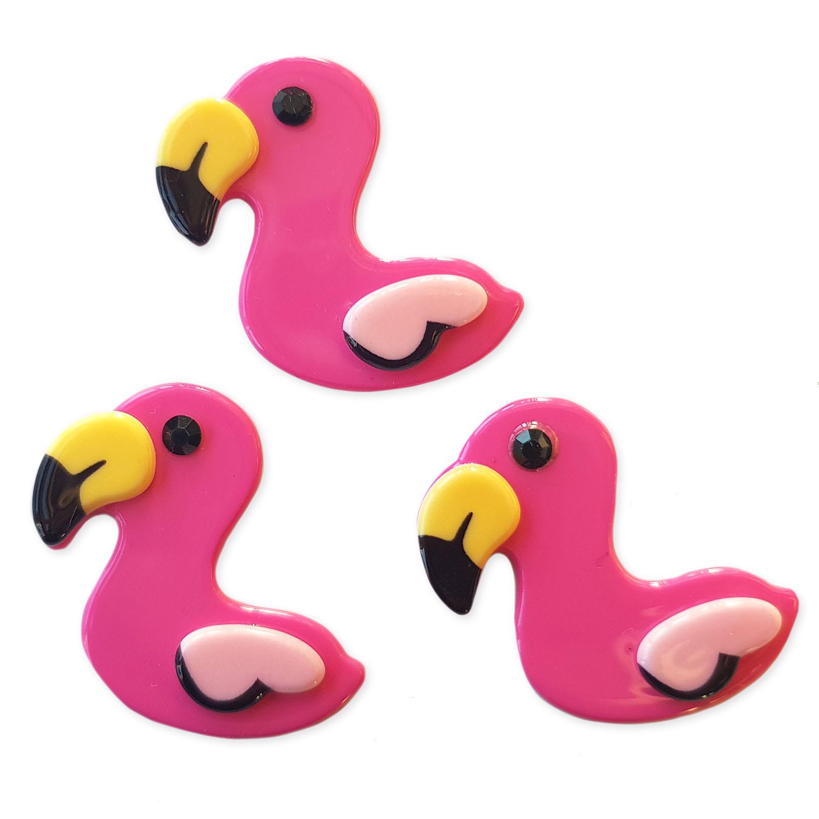 5pcs Pink Resin Flamingo Flatback Cabochons Embellishment Decoden Craft