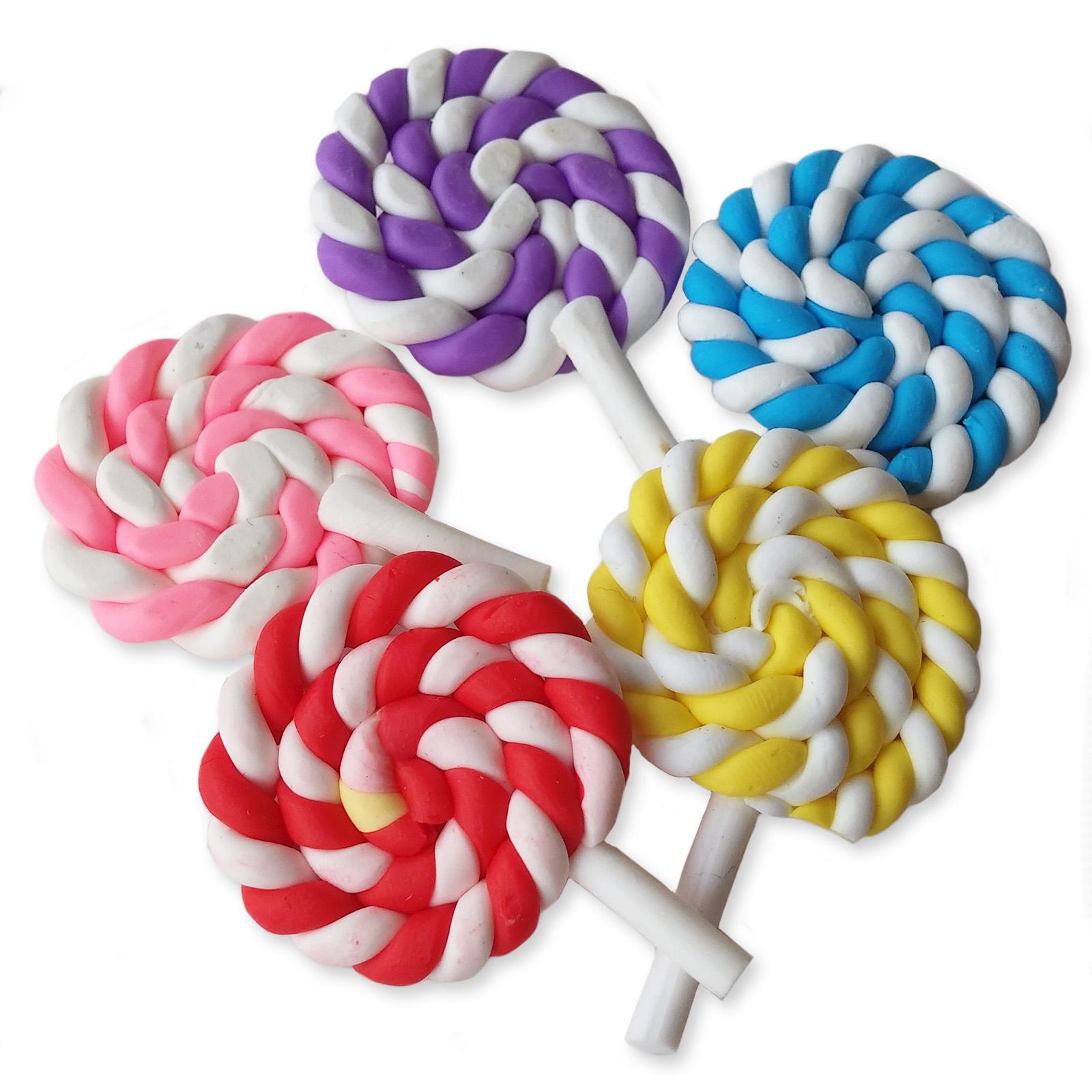 5pcs Clay Lolly Pop Candy Sweet Flatback Cabochon Embellishment