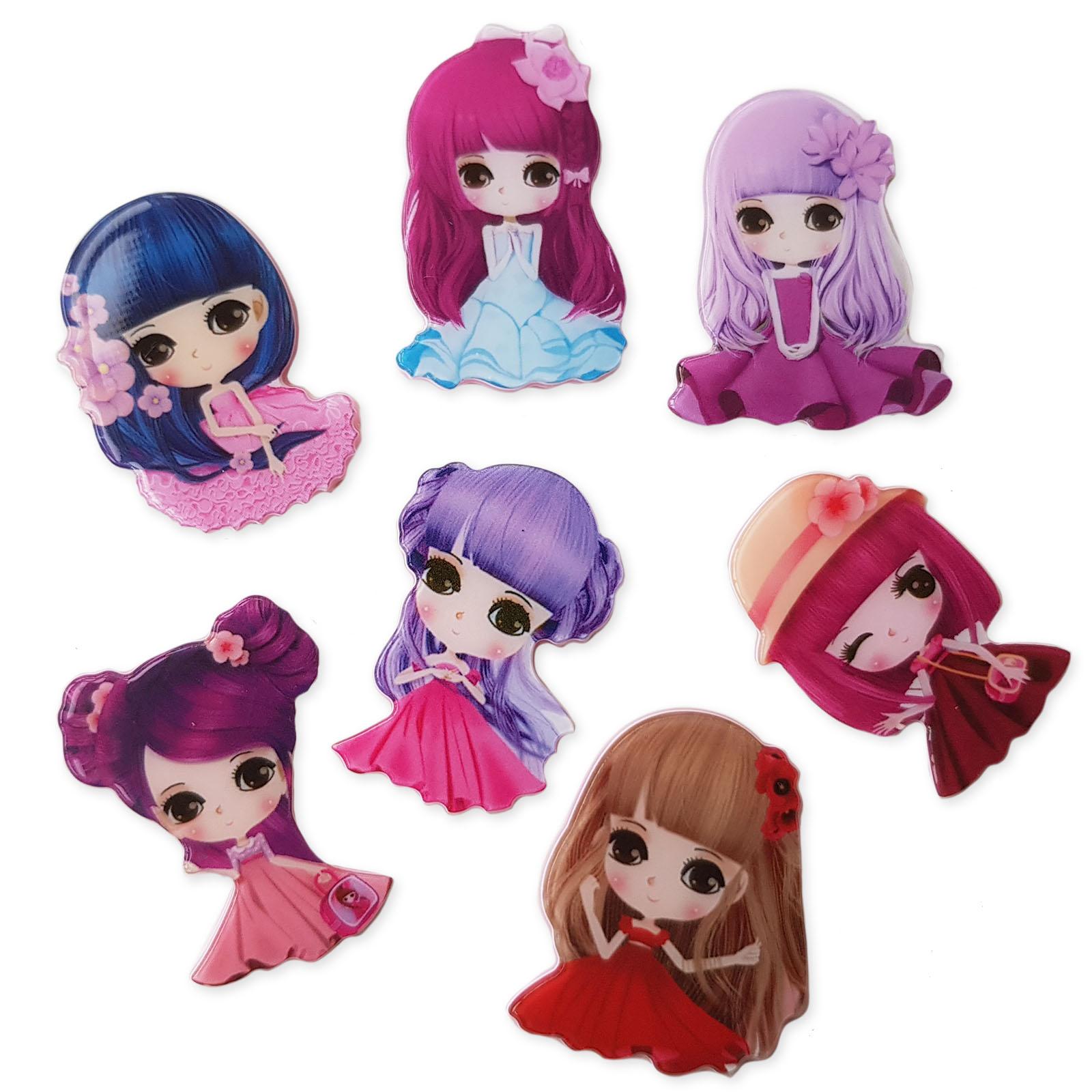 Large Pretty Girls Doll Flatback Cabochons Kawaii Embellishments Decoden