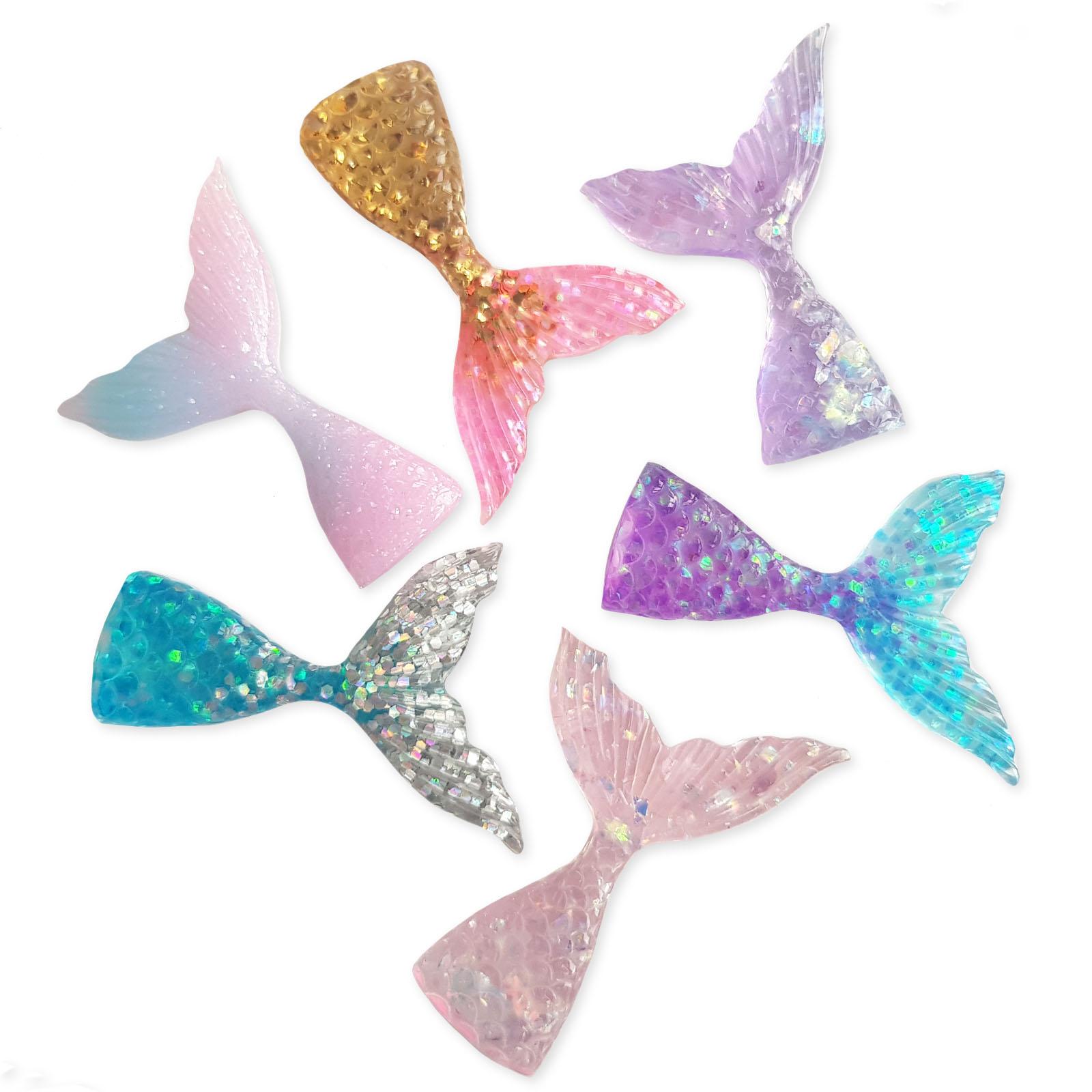 10 Glitter Mermaid Fish Tail Flatback Resin Cabochons Jewellery Making Crafts UK