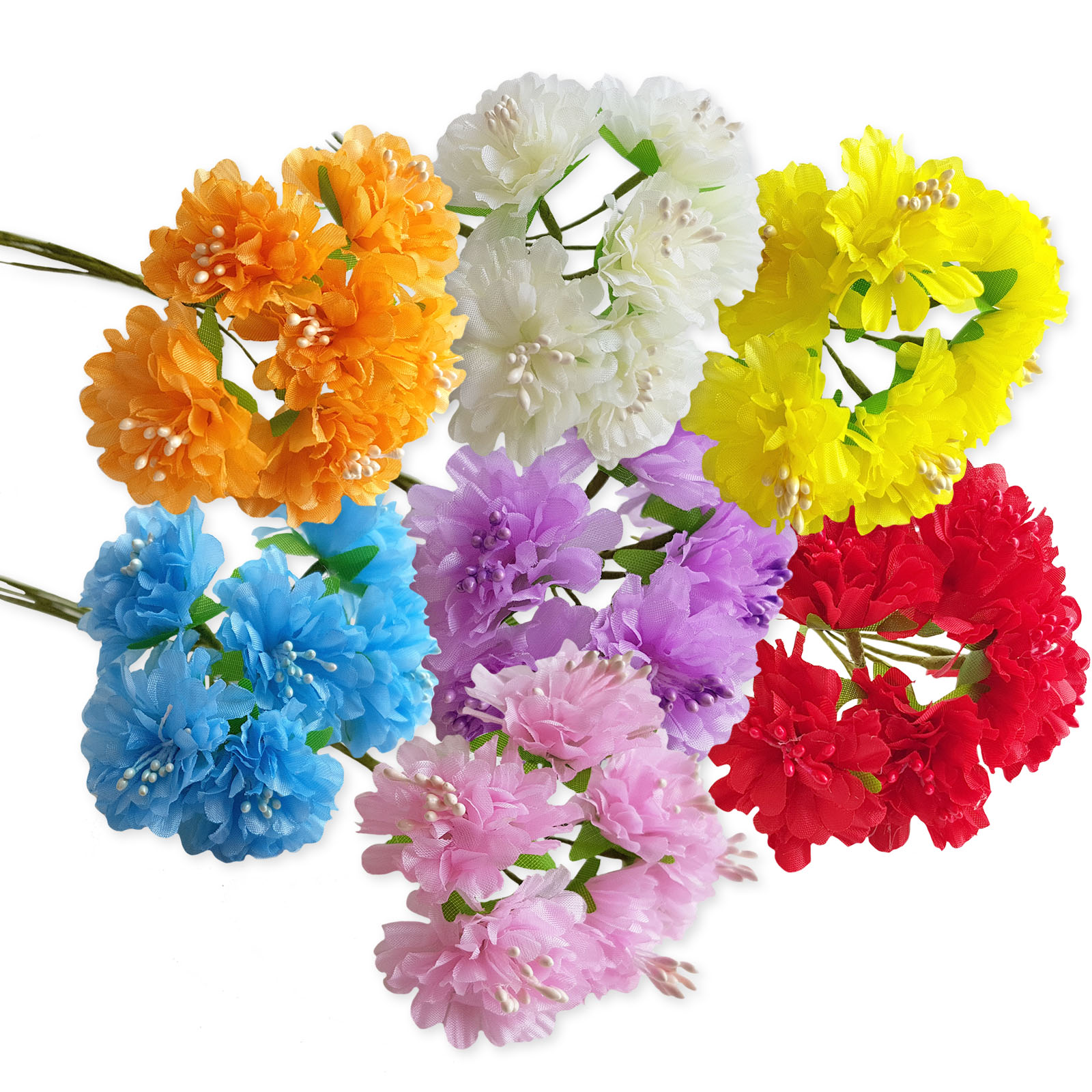 6pcs Artificial Carnation Craft Flowers Hair Garland Floral Decoration Wedding