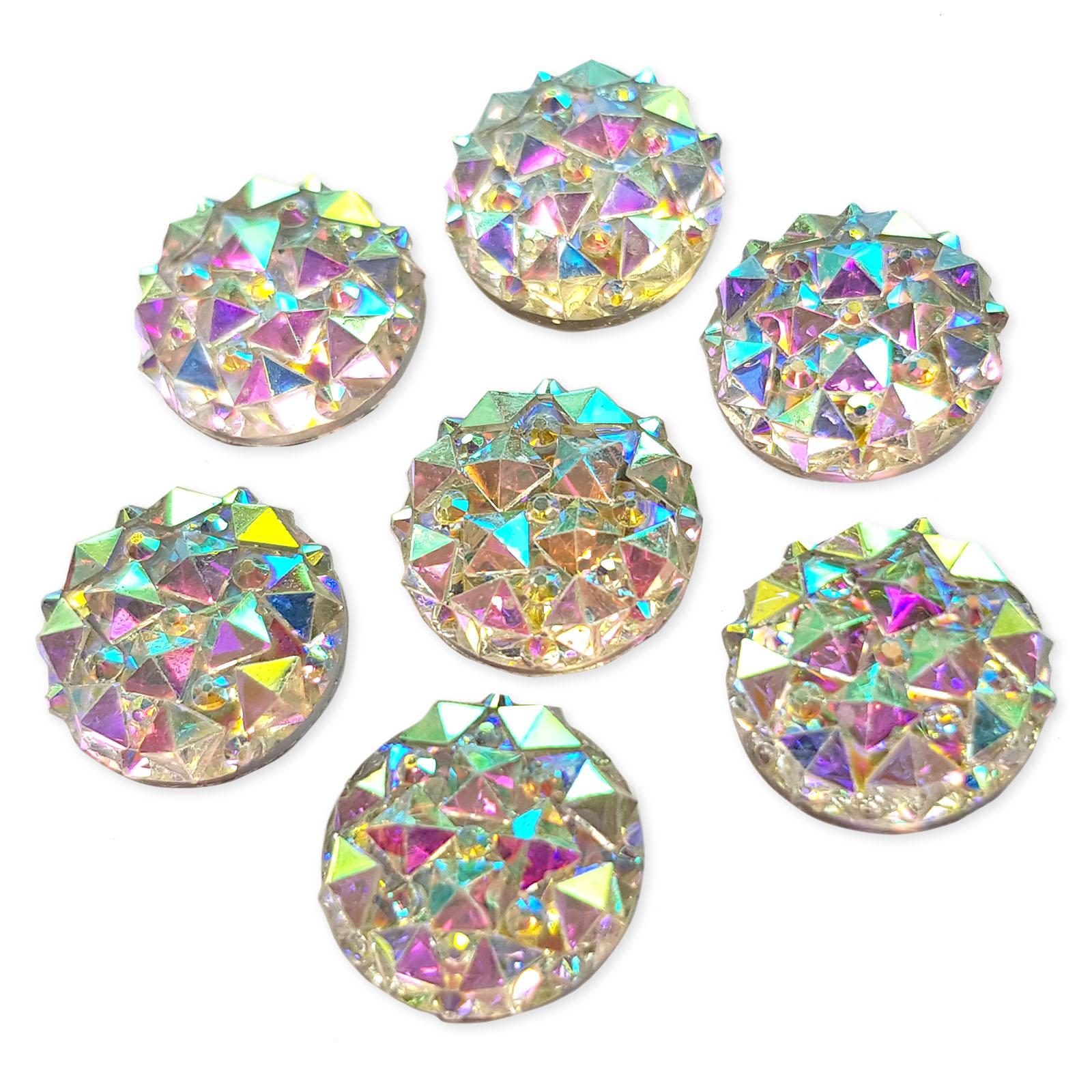 25pcs Assorted Mix sizes AB Acrylic Crystal Rhinestone Embellishments Craft Gems